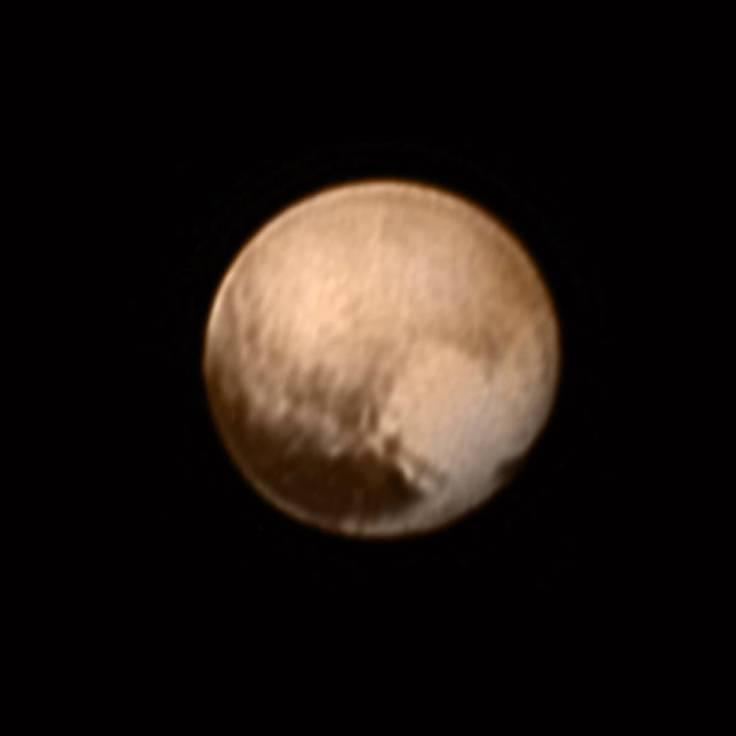 Pluto from New Horizons, July 8, 2015 Share on facebook Share on twitter Share on google_plusone_share Share on pinterest_share More Sharing Services This image of Pluto from New Horizons' Long Range Reconnaissance Imager (LORRI) was received on July 8, and has been combined with lower-resolution color information from the Ralph instrument.