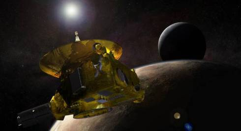 Rappresentazione artistica del passaggio ravvicinato a Plutone della sonda New Horizons (fonte: Johns Hopkins University Applied Physics Laboratory/Southwest Research Institute (JHUAPL/SwRI)