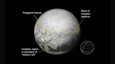 Pluto's Orientation with the Equator and Central Meridian Share on facebook Share on twitter Share on google_plusone_share Share on pinterest_share More Sharing Services An annotated image of Pluto indicates features and includes a reference globe showing Pluto's orientation with the equator and central meridian in bold.