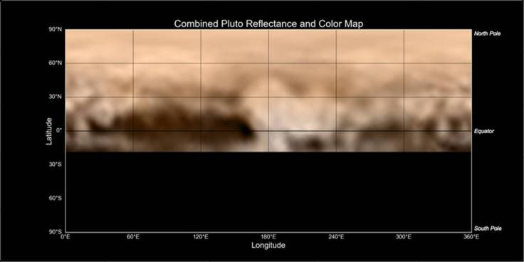New Horizons' Map of Pluto: The Whale and the Donut Share on facebook Share on twitter Share on google_plusone_share Share on pinterest_share More Sharing Services Map of Pluto, made from images taken by the LORRI instrument aboard New Horizons