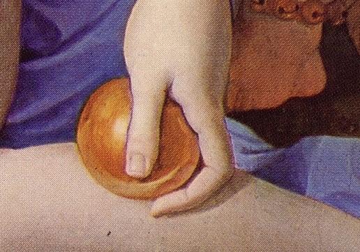 Agnolo Bronzino, particolare del pomo della Discordia, Allegoria del trionfo di Venere, 1540-1545 circa, olio su tavola, cm 146×116, Londra,